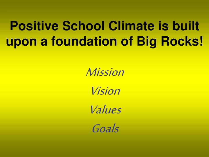 Positive School Climate is built upon a foundation of Big Rocks!