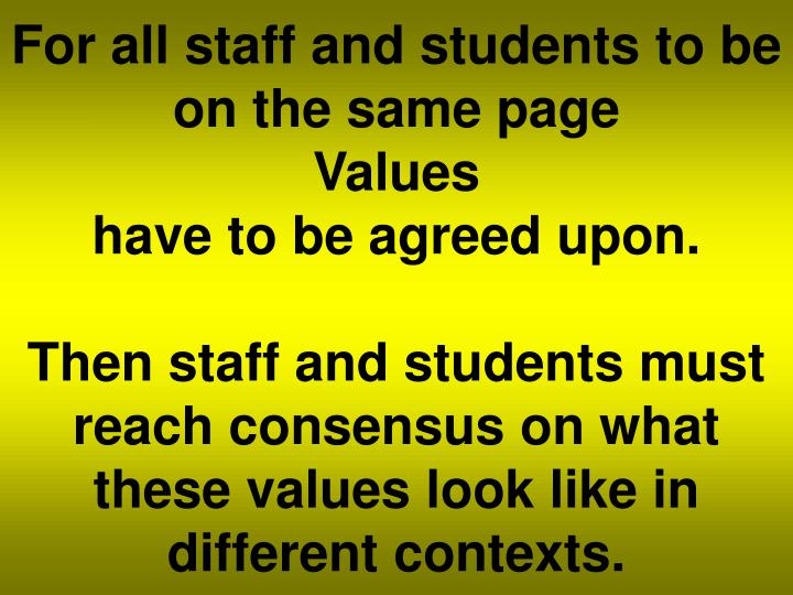 For all staff and students to be on the same page