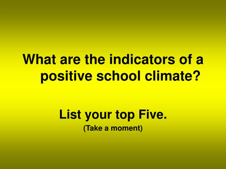 What are the indicators of a positive school climate?
