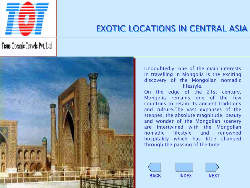 EXOTIC LOCATIONS IN CENTRAL ASIA