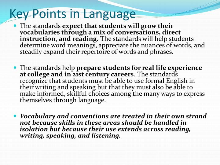 Key Points in Language