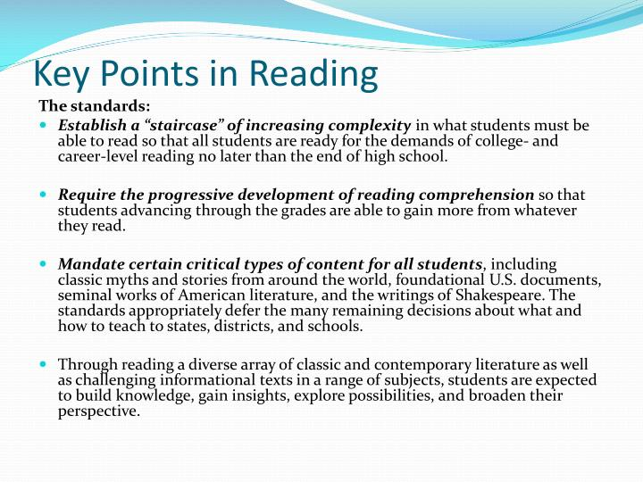 Key Points in Reading