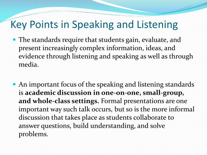 Key Points in Speaking and Listening