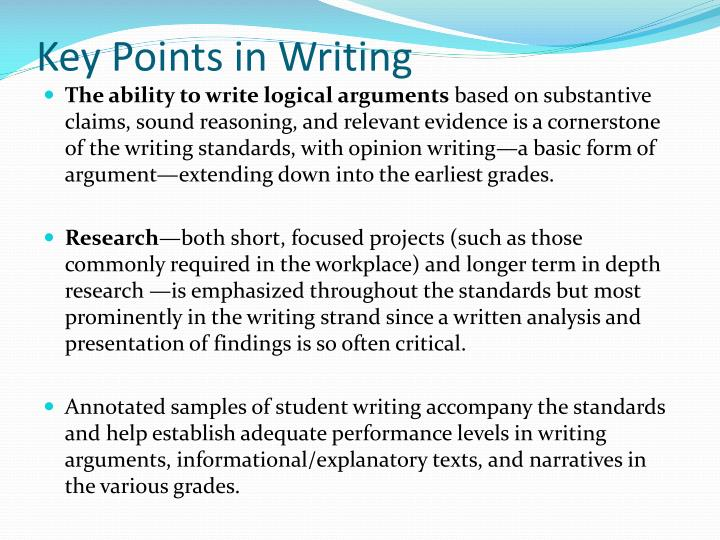 Key Points in Writing