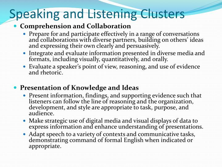 Speaking and Listening Clusters