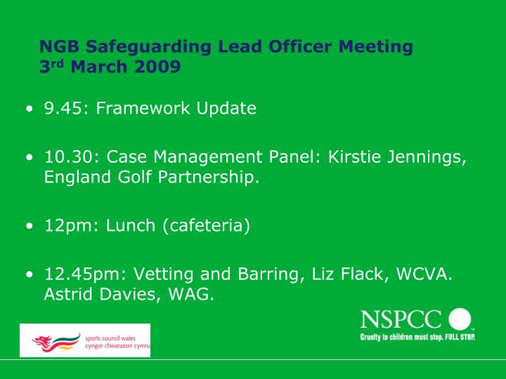 Ngb safeguarding lead officer meeting 3 rd march 2009