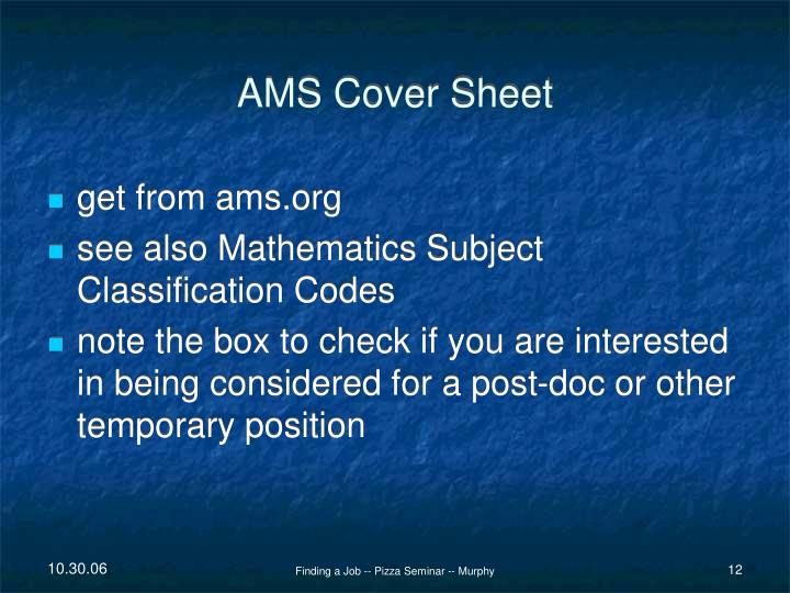 AMS Cover Sheet