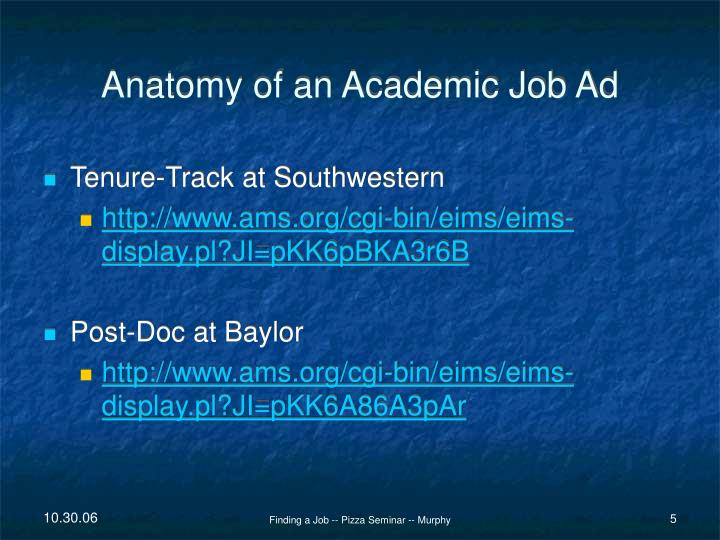 Anatomy of an Academic Job Ad