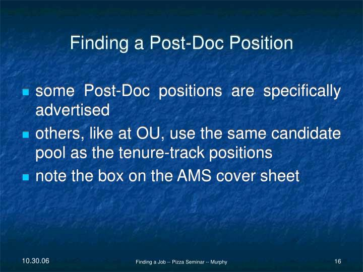 Finding a Post-Doc Position