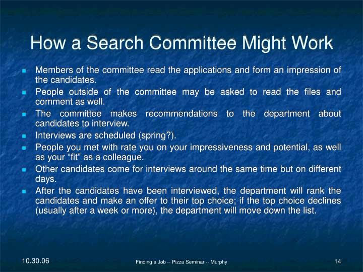 How a Search Committee Might Work