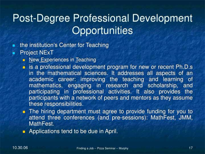 Post-Degree Professional Development Opportunities