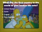 what was the first country in the world to give women the vote