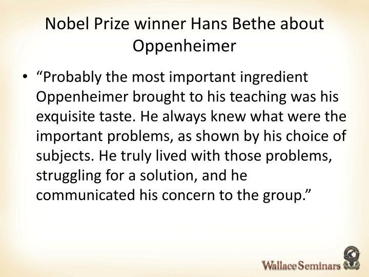Nobel Prize winner Hans Bethe