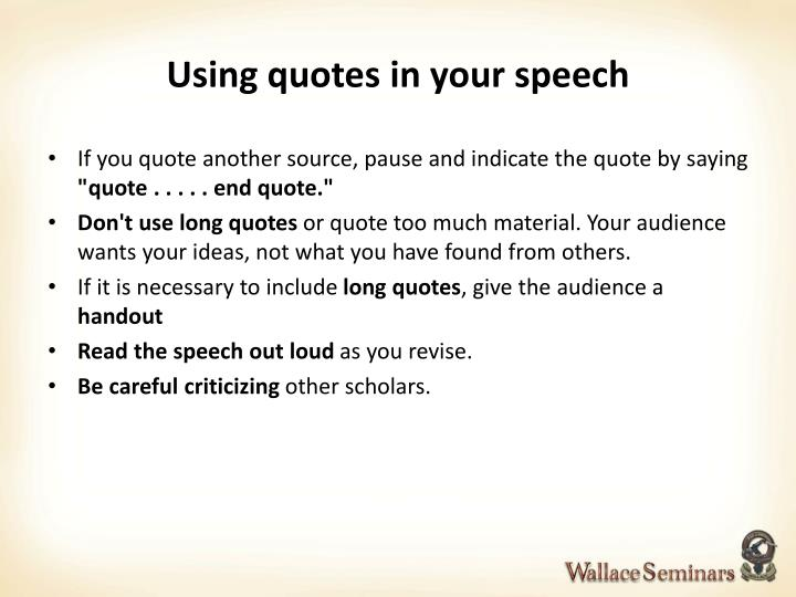 Using quotes in your speech