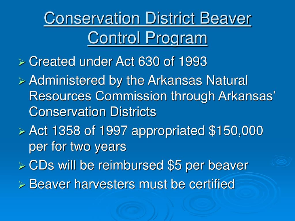 Conservation District Beaver Control Program