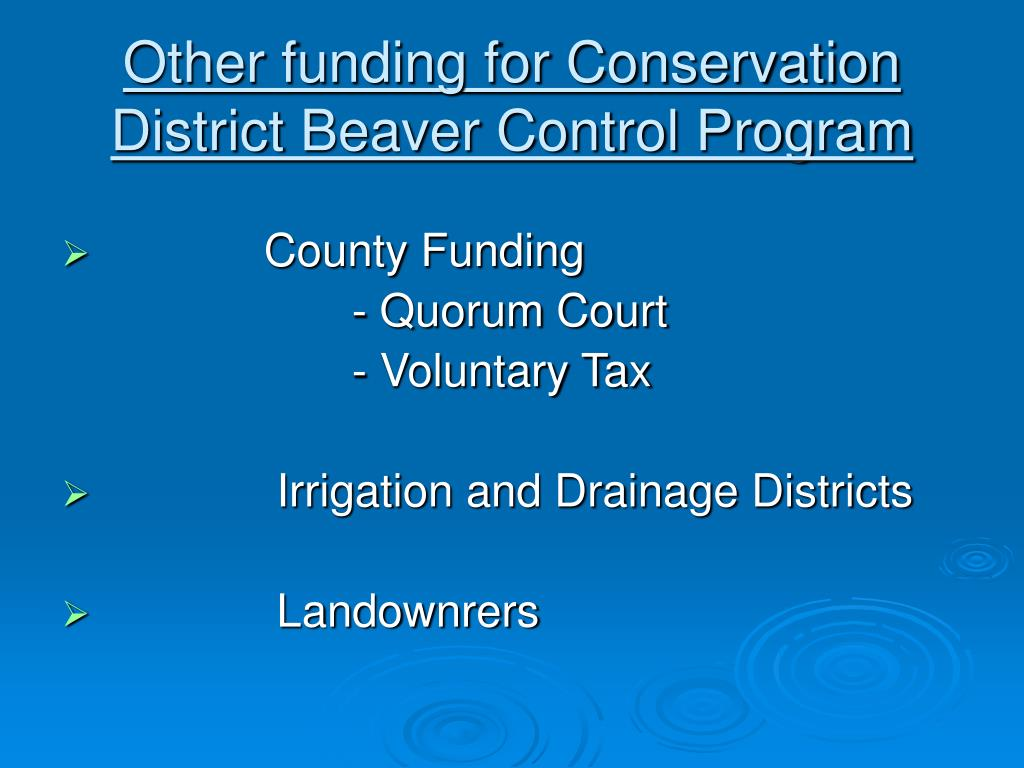 Other funding for Conservation District Beaver Control Program