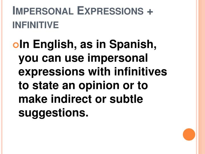 Impersonal expressions infinitive1