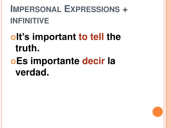 Impersonal expressions infinitive2