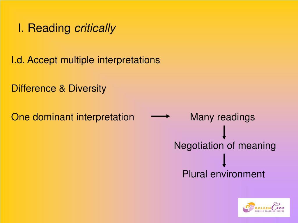 I. Reading