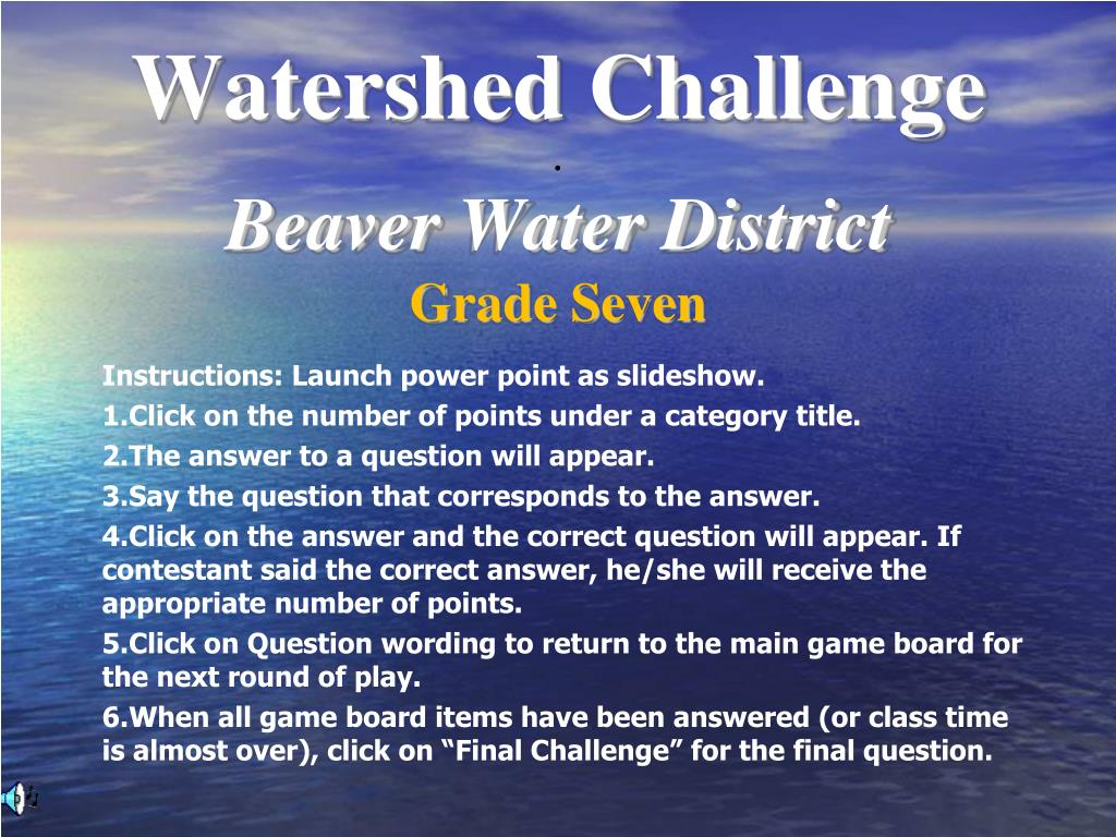 Watershed Challenge