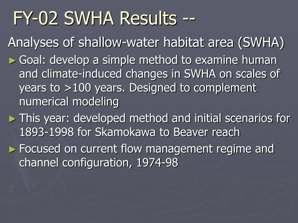 FY-02 SWHA Results --