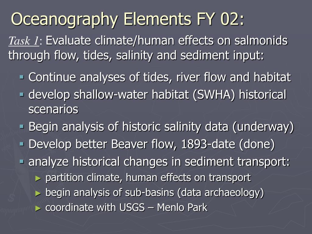 Oceanography Elements FY 02: