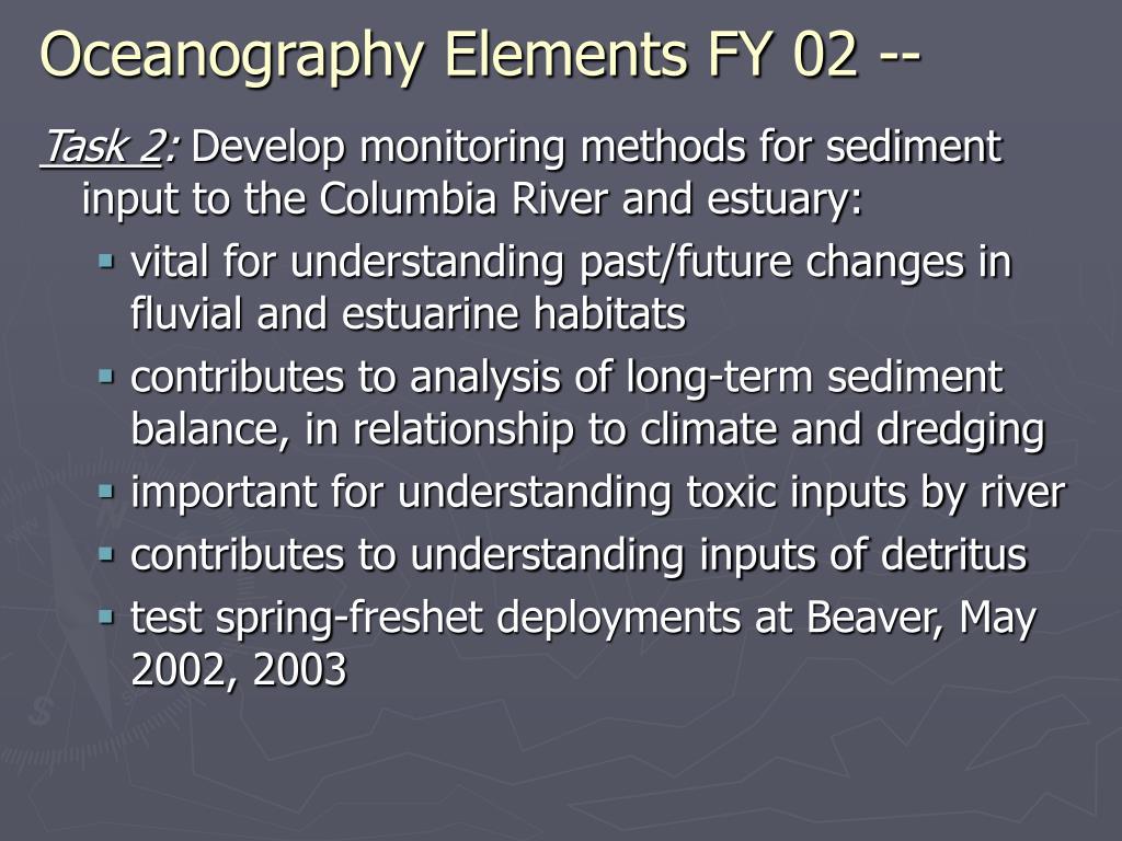 Oceanography Elements FY 02 --