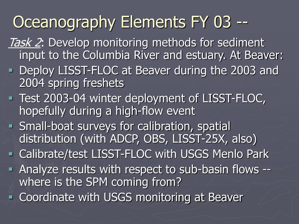 Oceanography Elements FY 03 --