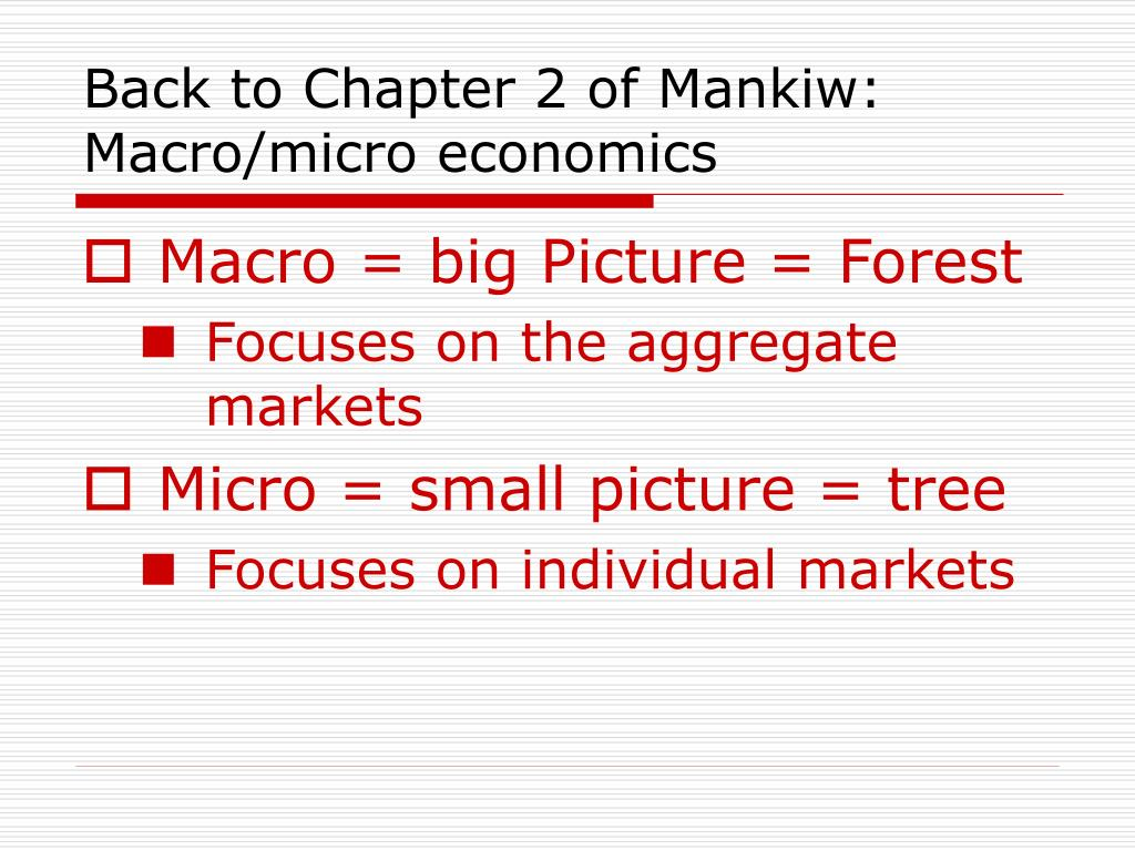 Back to Chapter 2 of Mankiw: Macro/micro economics