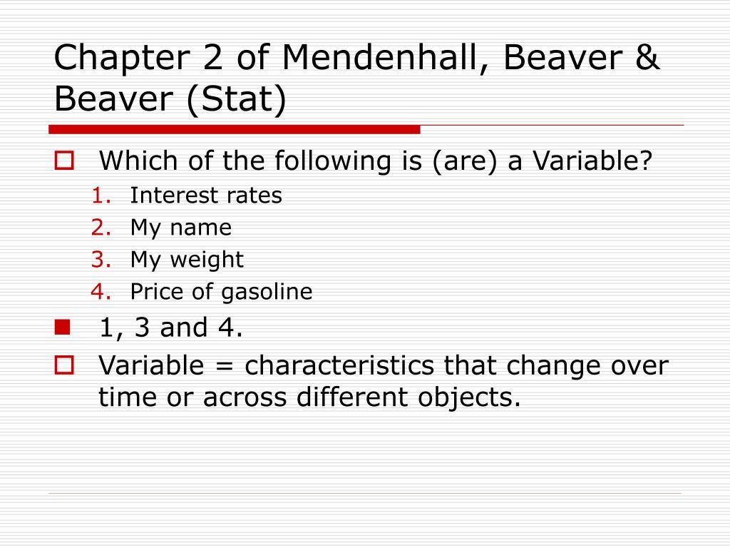 Chapter 2 of Mendenhall, Beaver & Beaver (Stat)