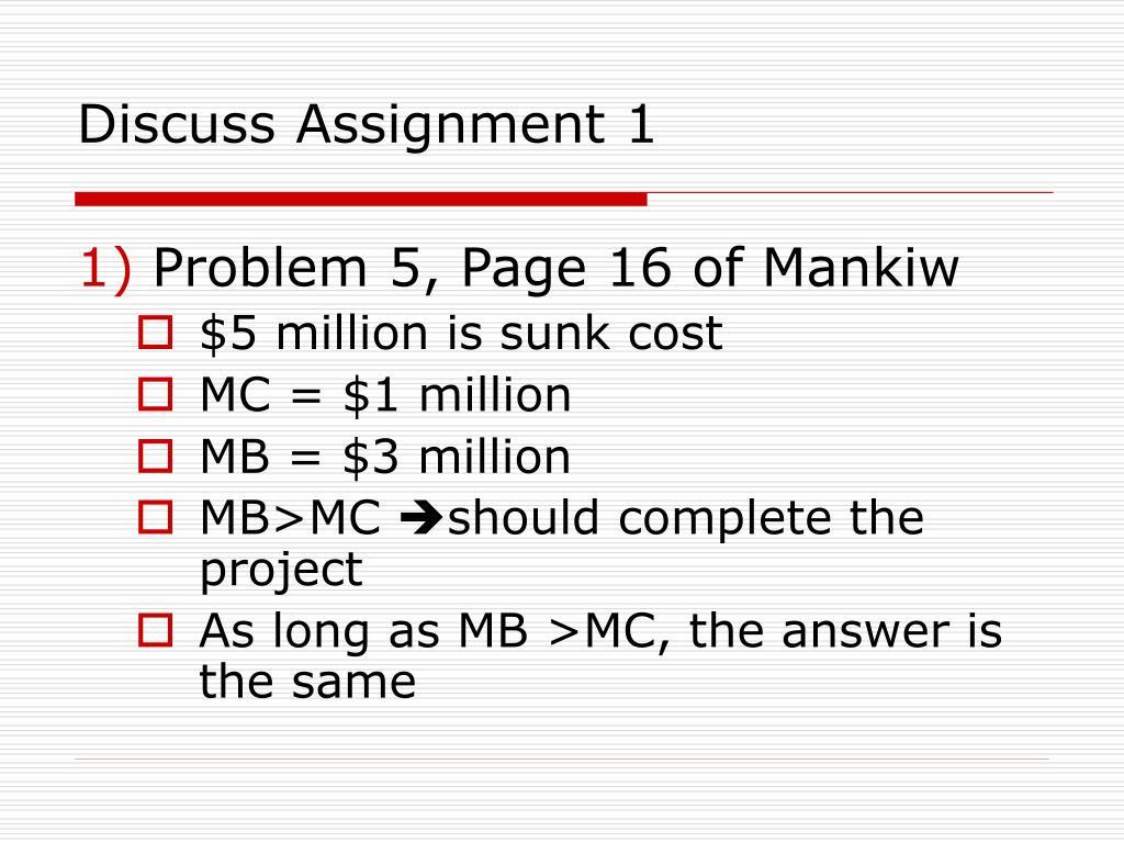 Discuss Assignment 1