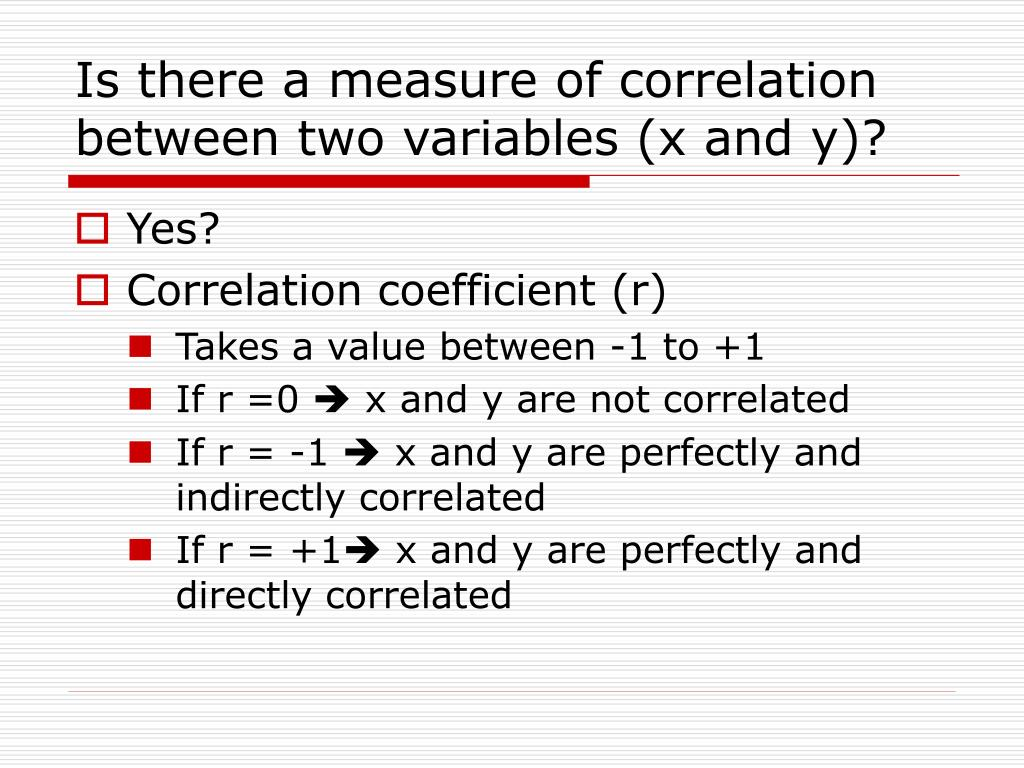 Is there a measure of correlation between two variables (x and y)?