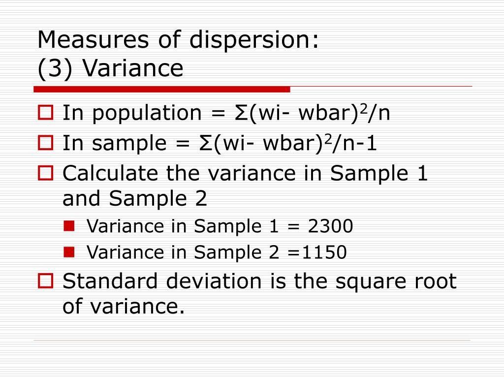 Measures of dispersion: