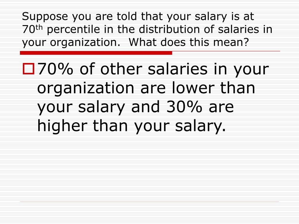 Suppose you are told that your salary is at 70