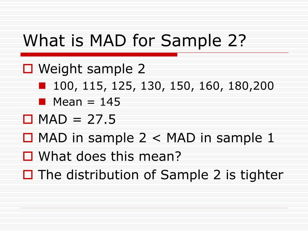 What is MAD for Sample 2?