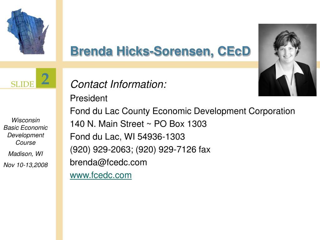 Brenda Hicks-Sorensen, CEcD