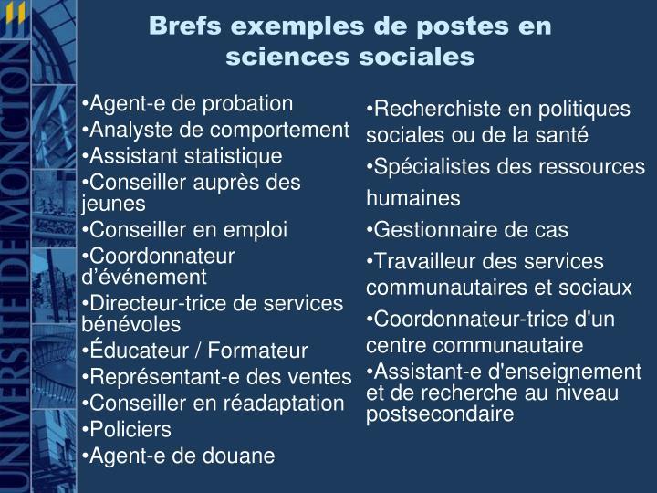 Brefs exemples de postes en sciences sociales