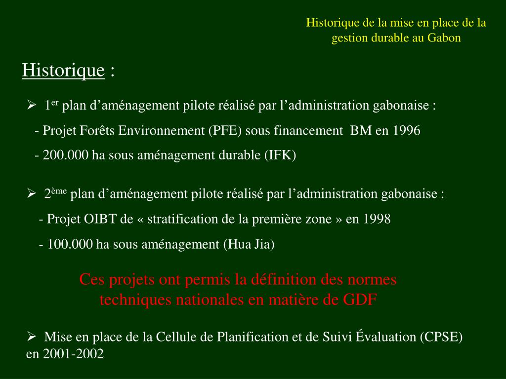 Historique de la mise en place de la gestion durable au Gabon