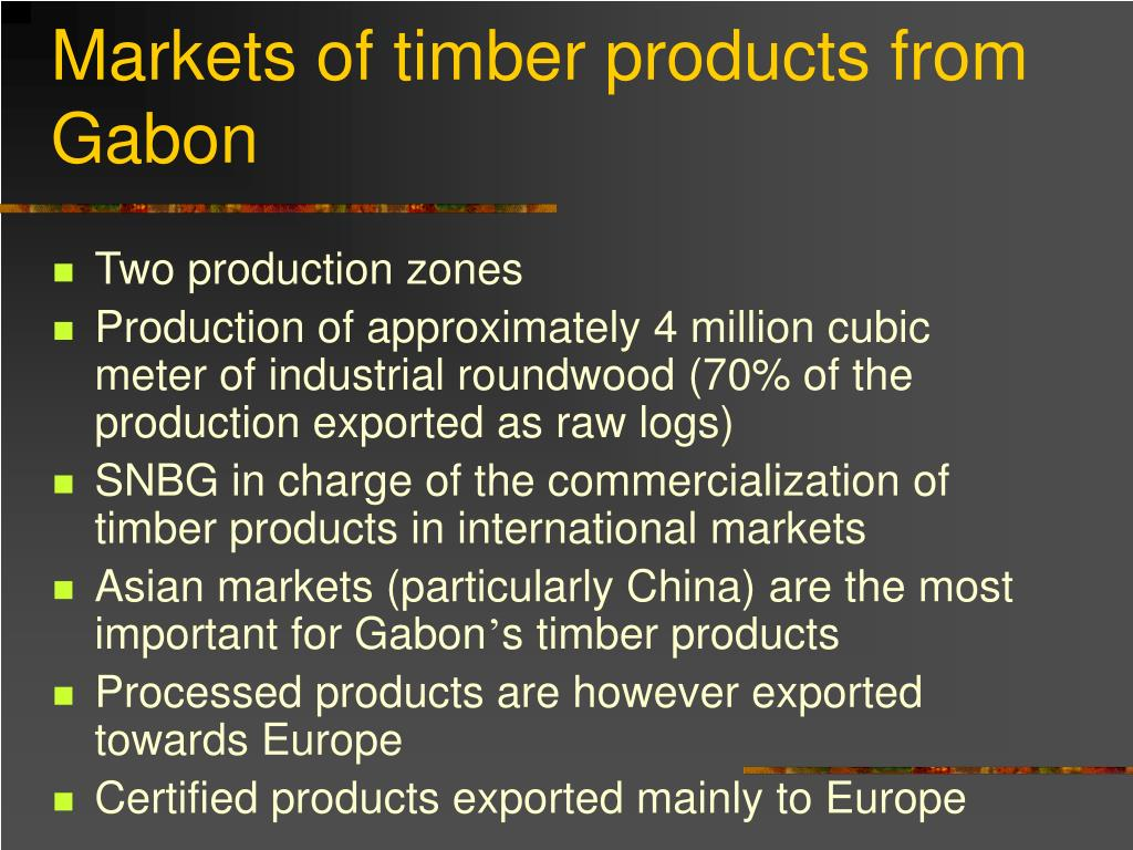 Markets of timber products from Gabon