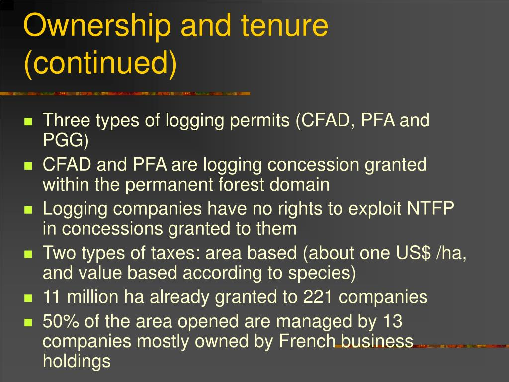 Ownership and tenure (continued)