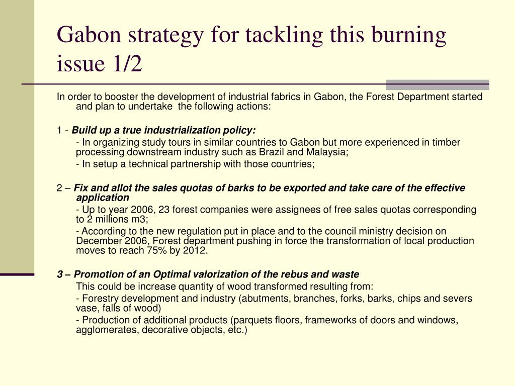 Gabon strategy for tackling this burning issue 1/2