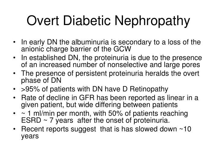 Overt Diabetic Nephropathy