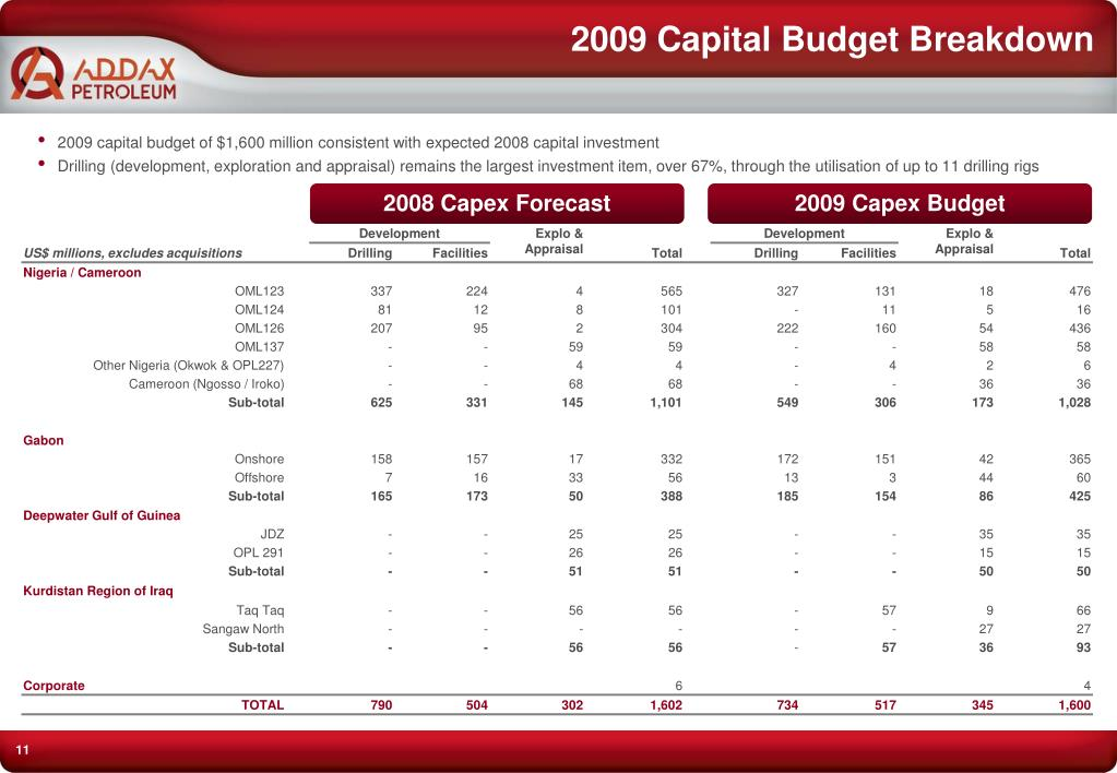 2009 Capital Budget Breakdown