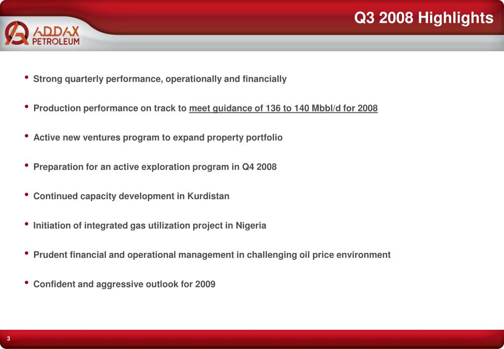 Q3 2008 Highlights