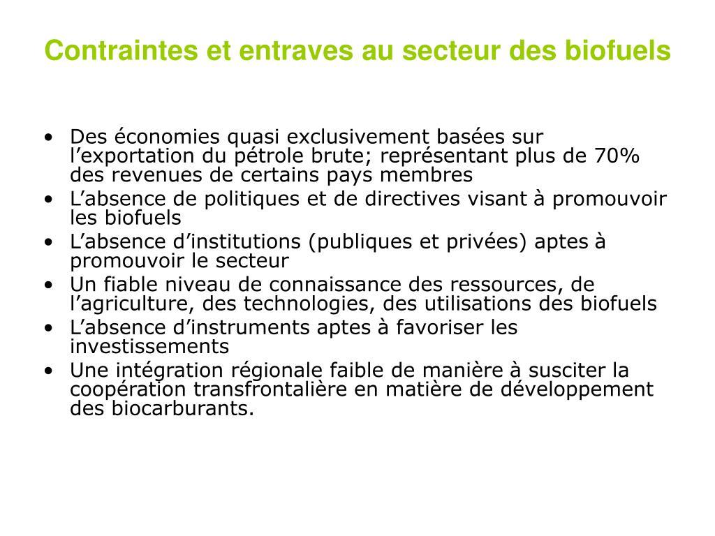 Contraintes et entraves au secteur des biofuels