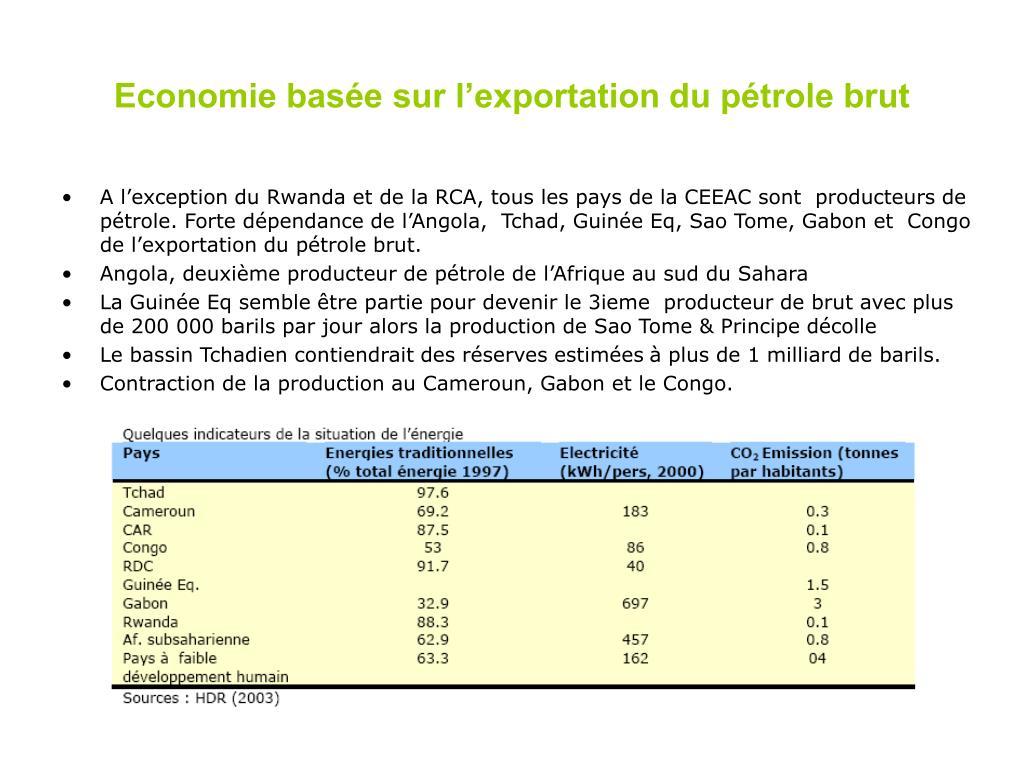 Economie basée sur l'exportation du pétrole brut