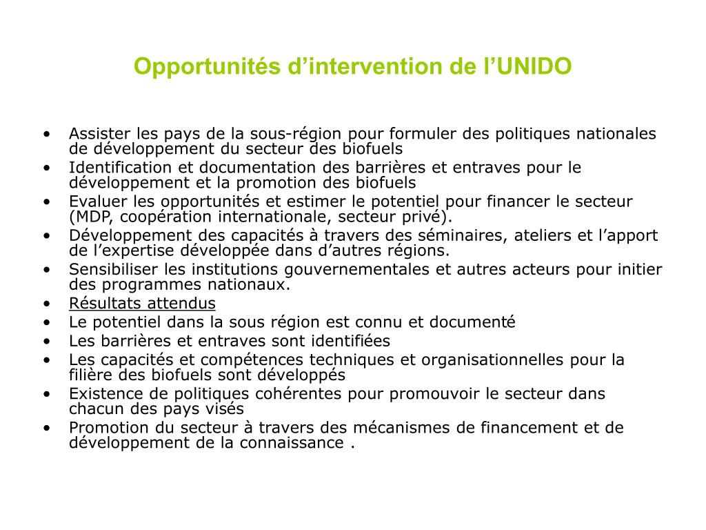 Opportunités d'intervention de l'UNIDO