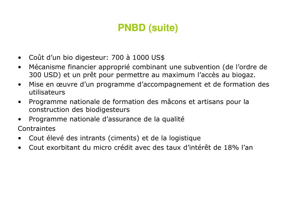 PNBD (suite)