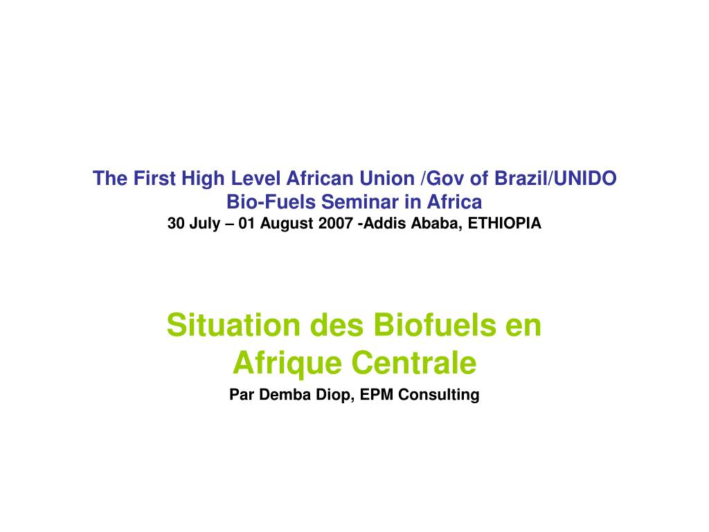 The First High Level African Union /Gov of Brazil/UNIDO