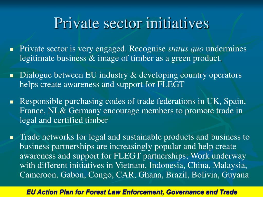 Private sector initiatives